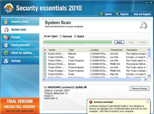 Le faux Security Essentials 2010