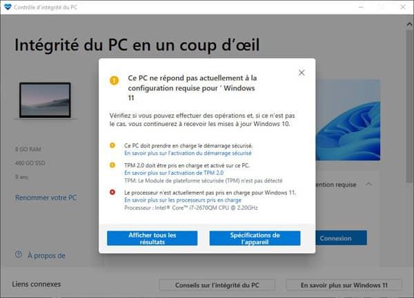 Test compatibilité Windows 11 viux PC