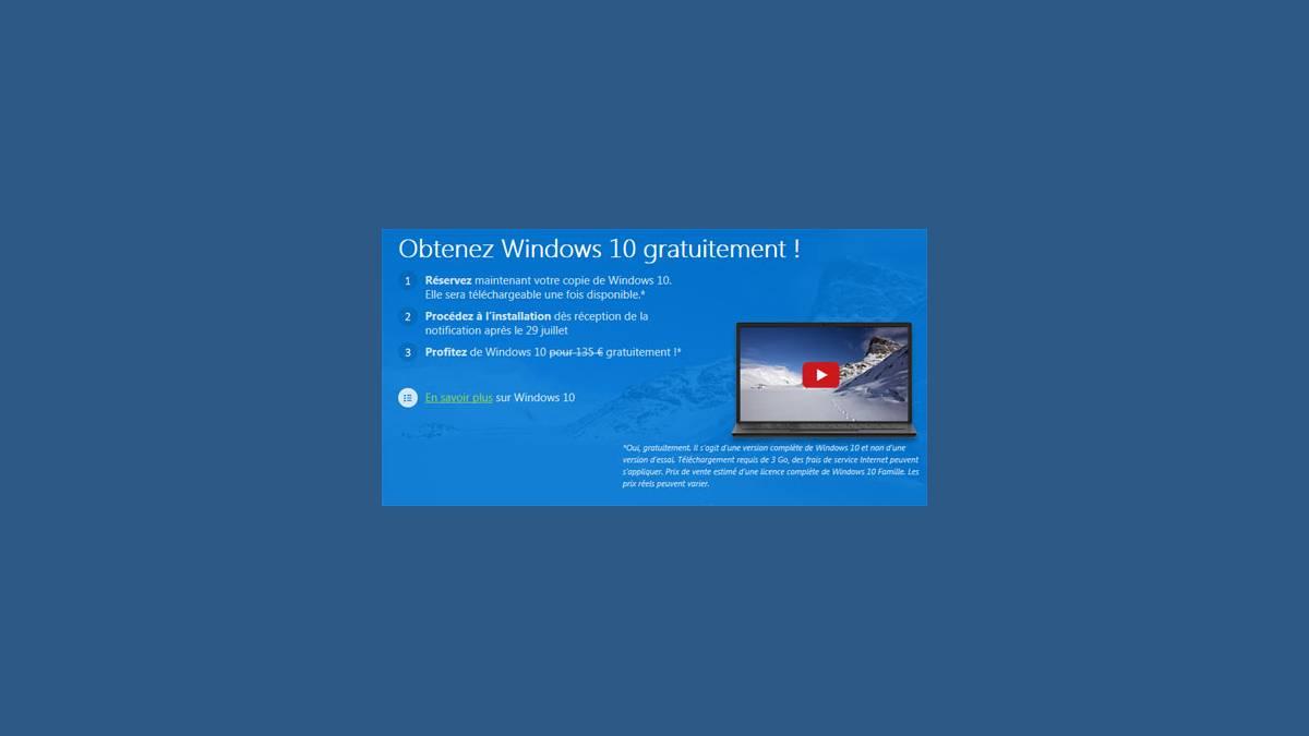 Windows 10 mise à jour gratuite