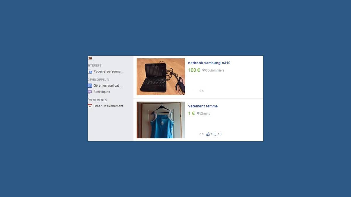 Capture d'une annonce sur Facebook
