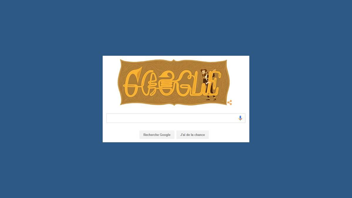 Doodle Adolphe Sax sur google