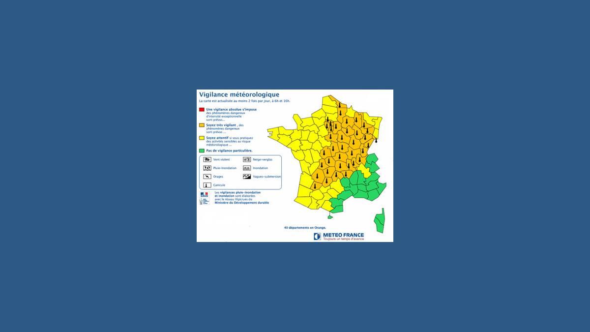 Carte de vigilance canicule Météo France