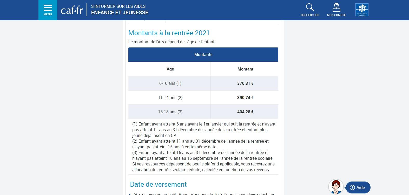 ARS 2021-2022 de la CAF (site Internet)