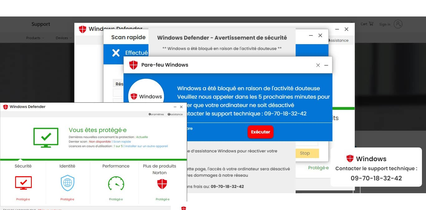 Windows a été bloqué en raison de l'activité douteuse appelez le 0970183242