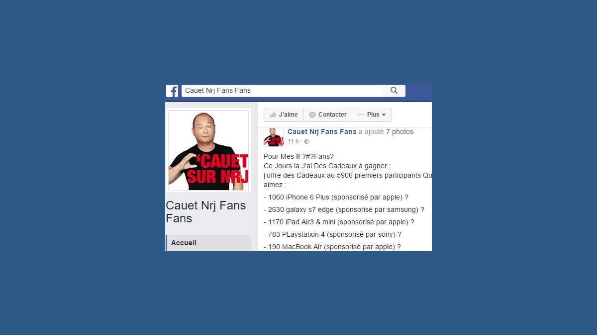Facebook : Arnaque Cauet Nrj Fans