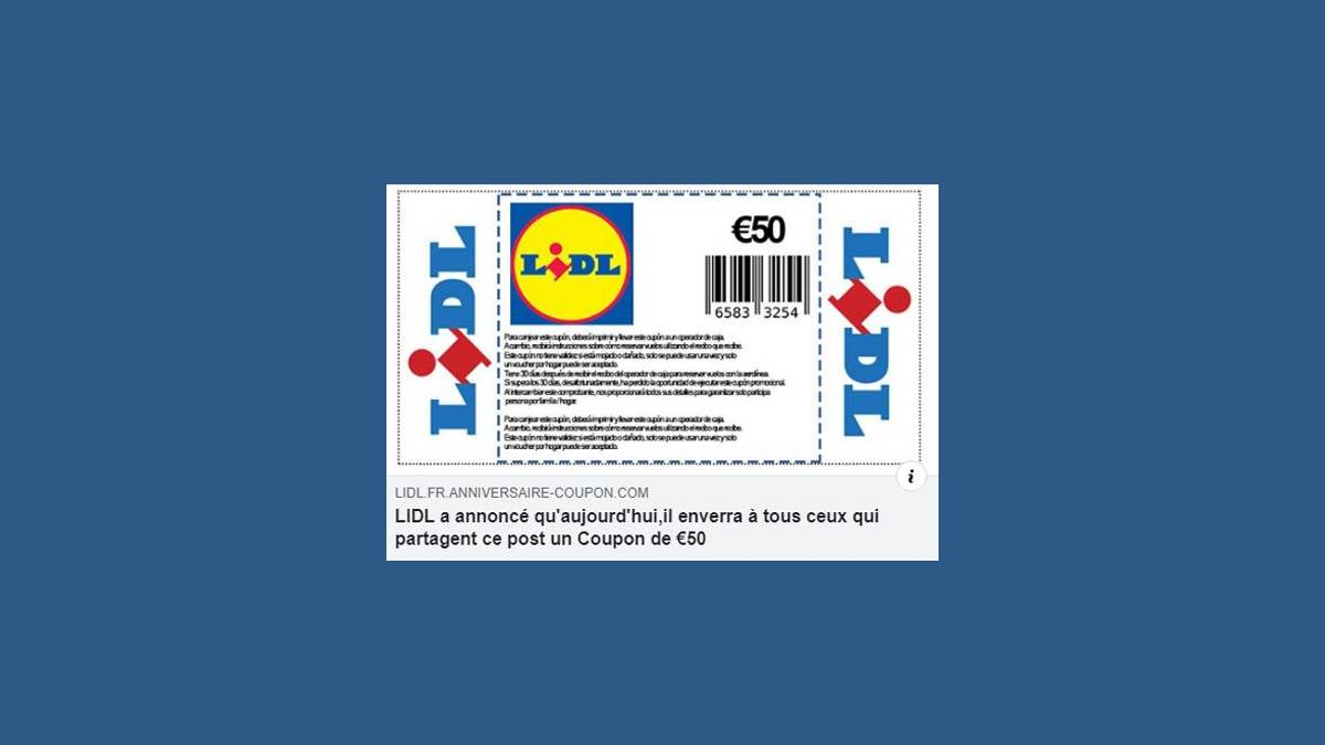 Arnaque coupon 50€ Lidl (capture Facebook)