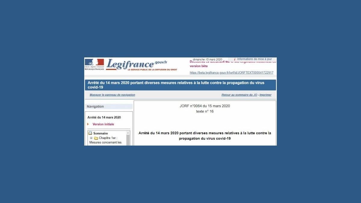 Arrêté Covid-19 Legifrance