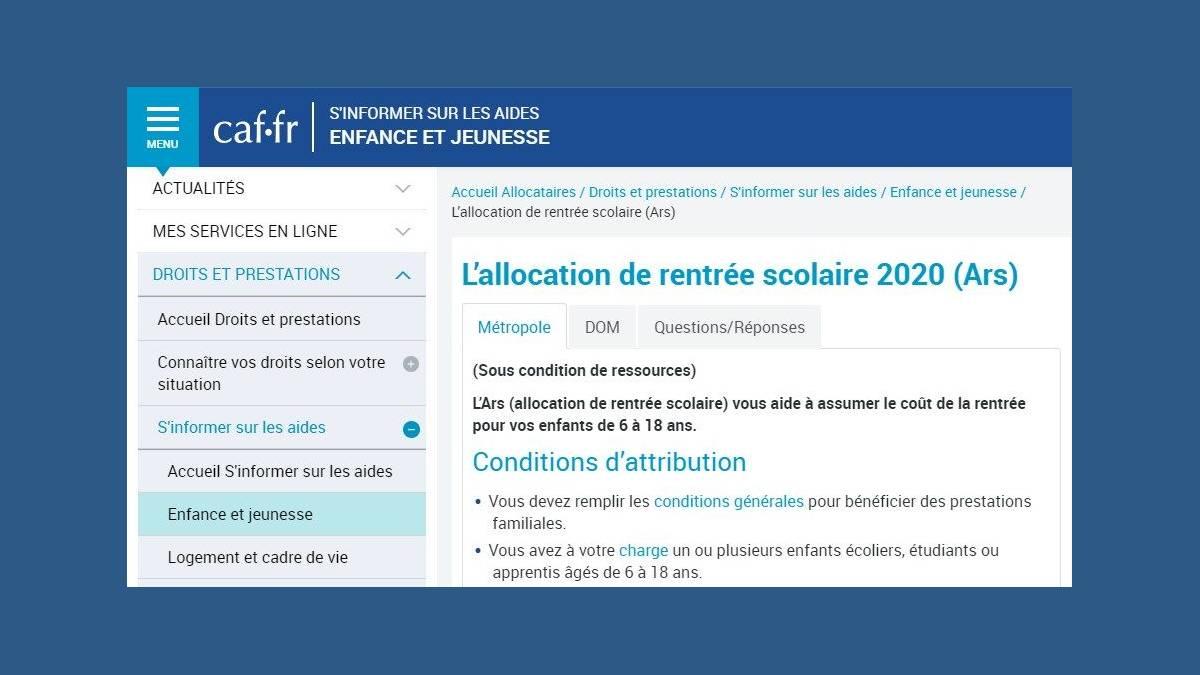 ARS  2020 - 2021 les chiffres clés de la CAF
