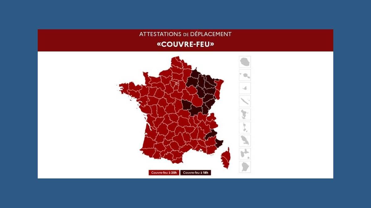 Carte de France attestation de déplacement 18 heures