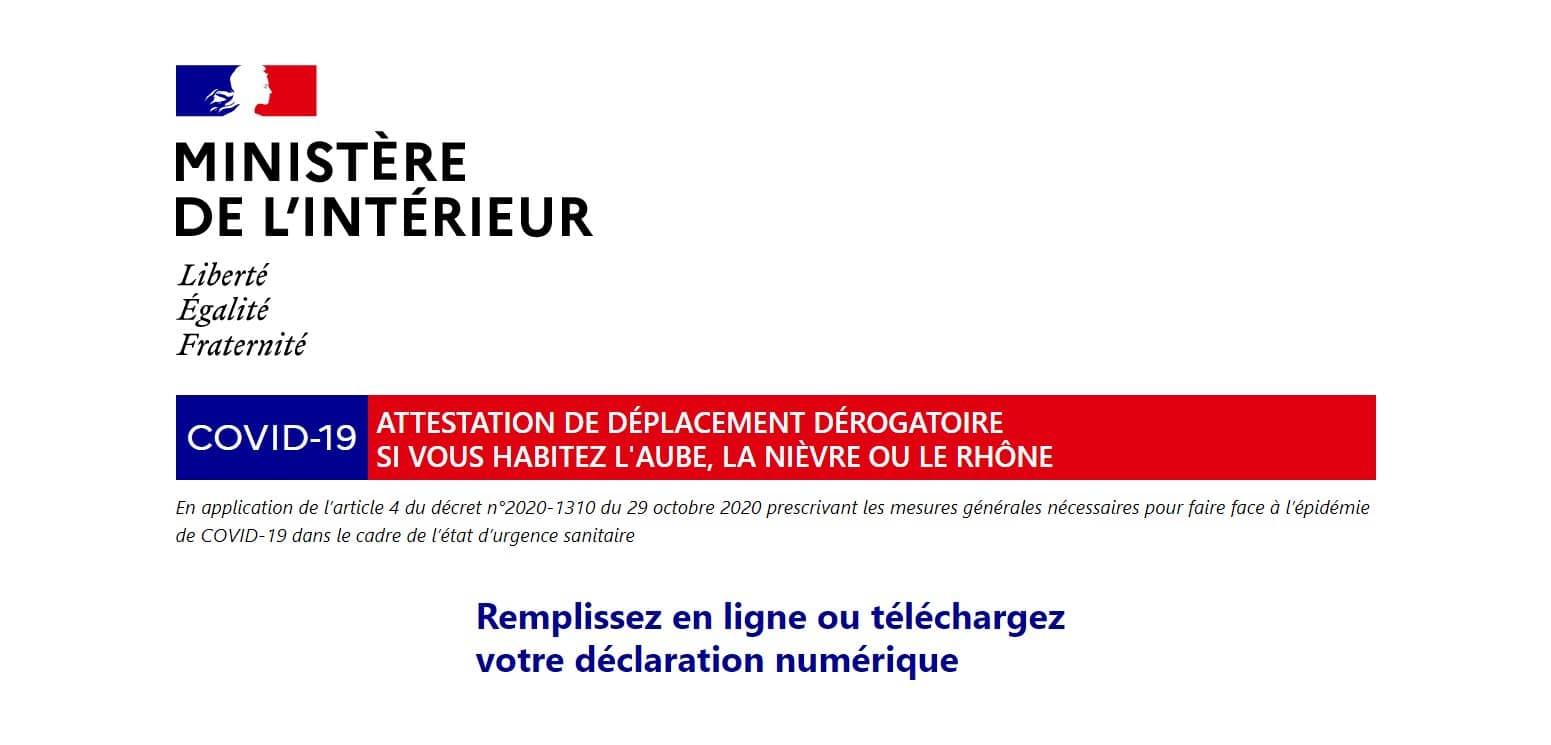 Attestation de déplacement dérogatoire pour l'Aube, la Nièvre ou le Rhône