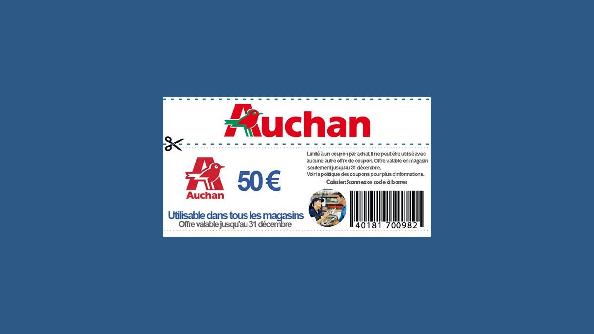 Arnaque coupon 50€ Auchan (capture Facebook)
