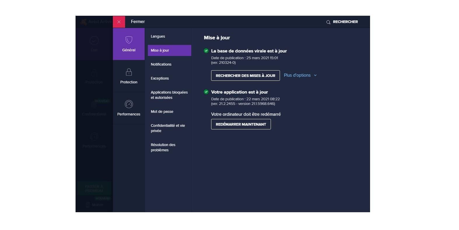 Interface mise à jour Avast 21.2.2455