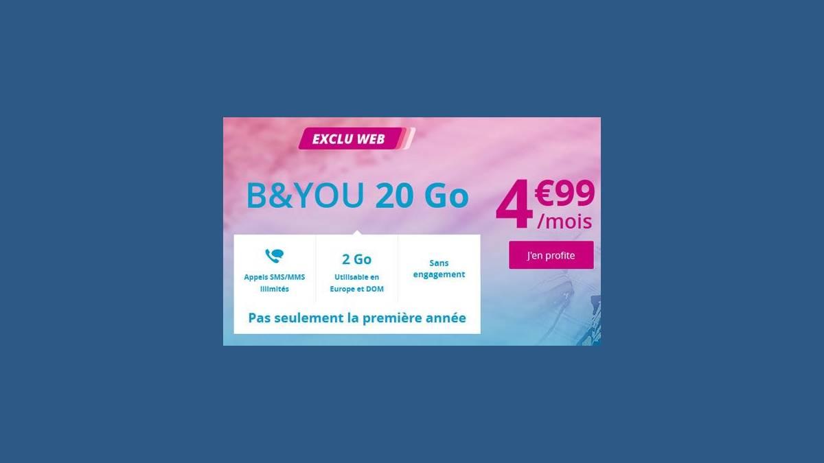 B&You forfait mobile 20 Go à 4,99€