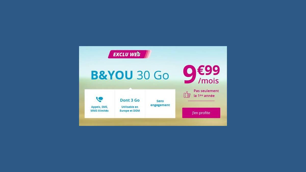 B&You forfait mobile 30 Go à 9,99 €
