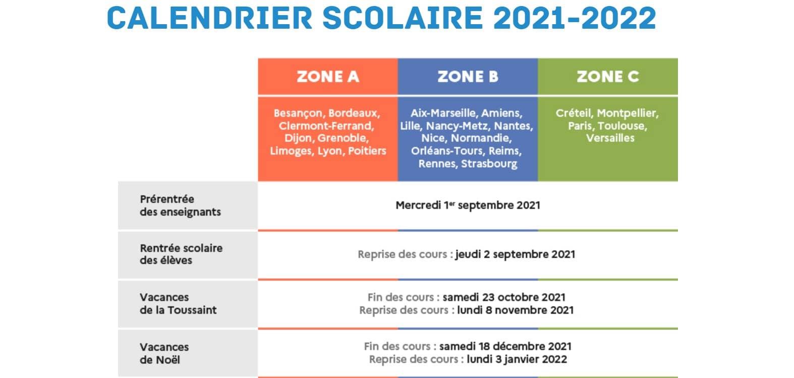 Calendrier des vacances scolaires 2021-2022