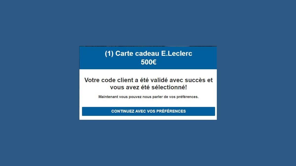 Arnaque mail Leclerc Carte cadeau 500 €