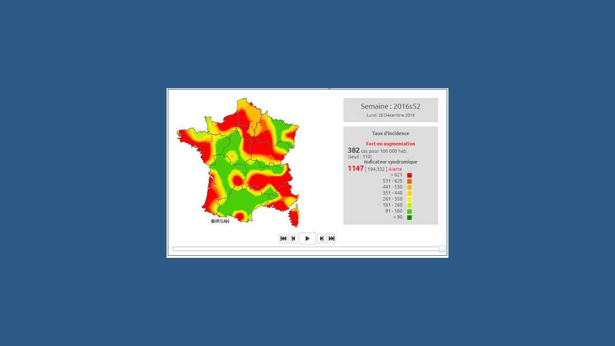 Carte épidémie grippe décembre 2016 ( Irsan )