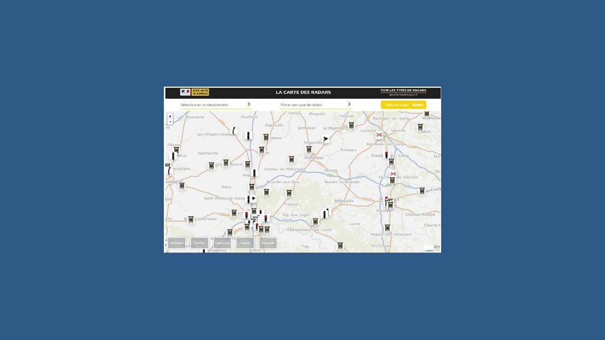 Carte des radars en France et en outre-mer