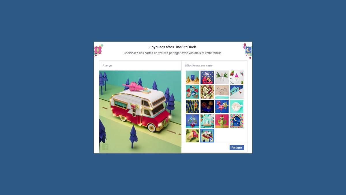 Facebook – Envoyez une carte de vœux
