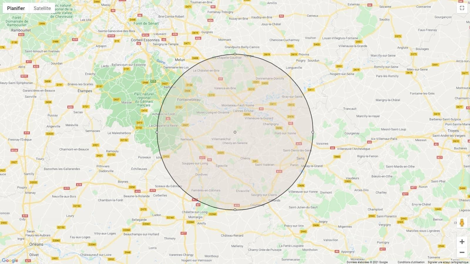Tracer un cercle de 30 km sur Google Maps