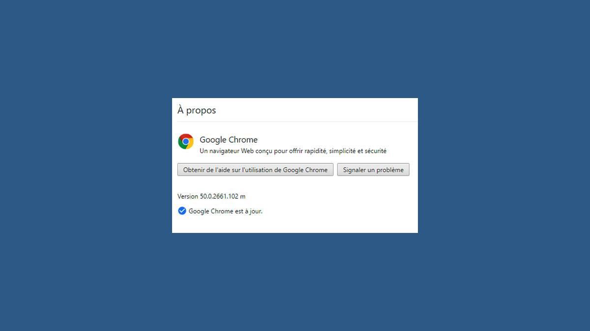 Mise à jour Chrome 50.0.2661.102