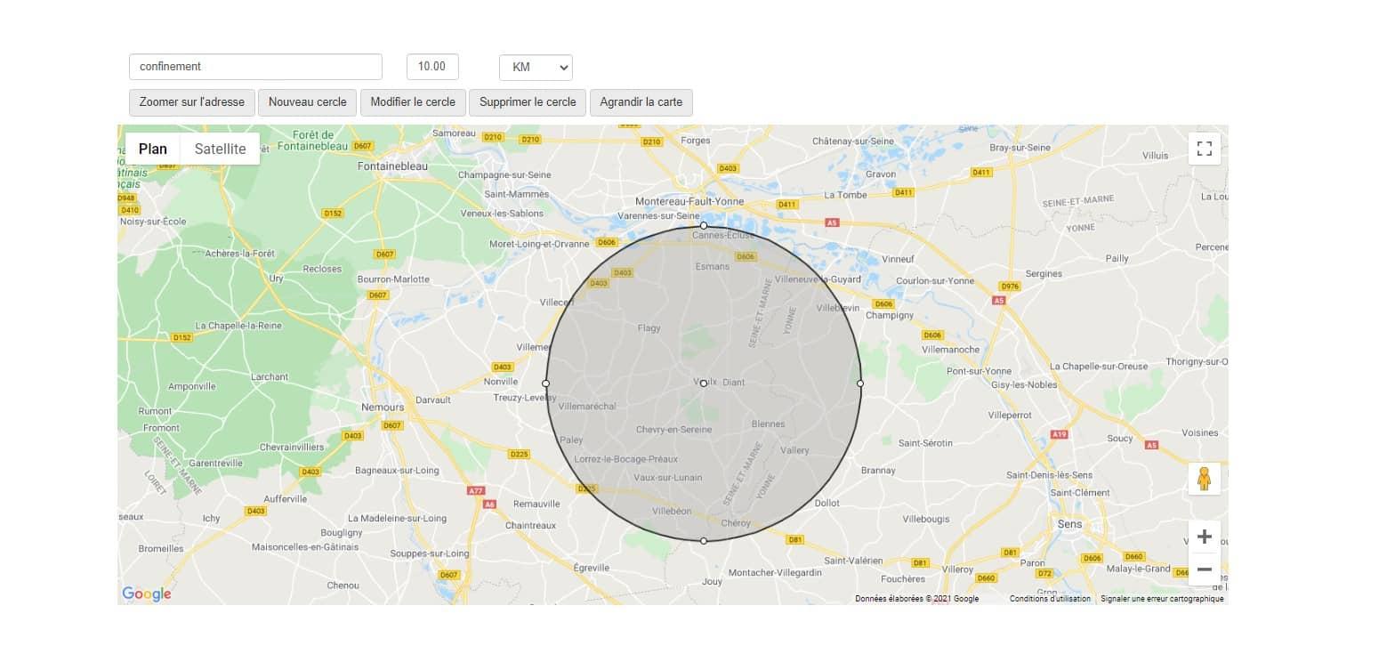 Dessiner un cercle de 10 km sur une carte Google Maps