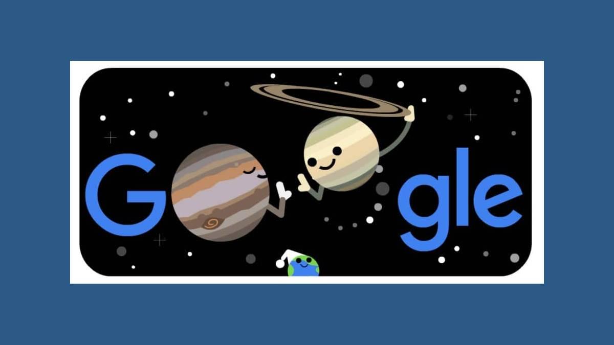Doodle grande conjonction Jupiter Saturne