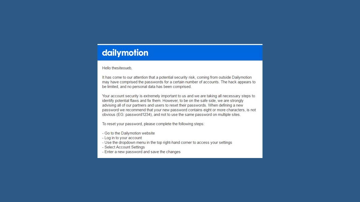 Capture mail Dailymotion piratage compte