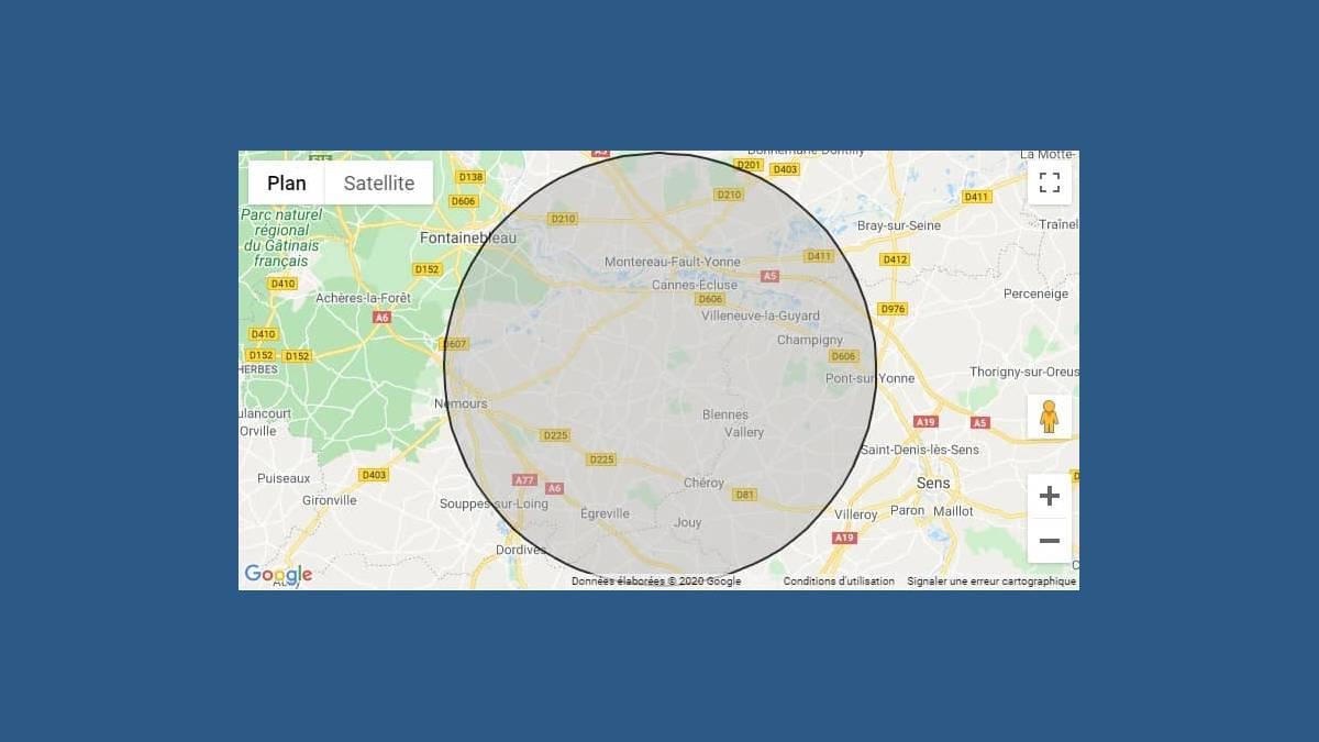 Dessiner un cercle de 20 km sur une carte Google Maps