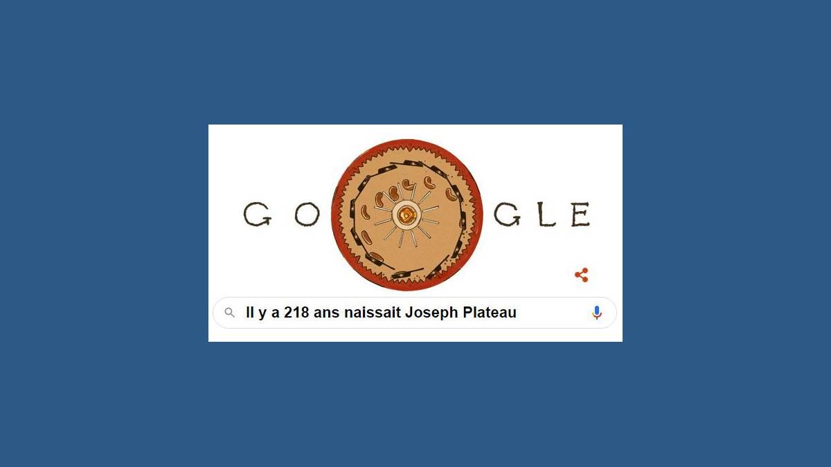 Doodle 218e anniversaire de la naissance de Joseph Plateau