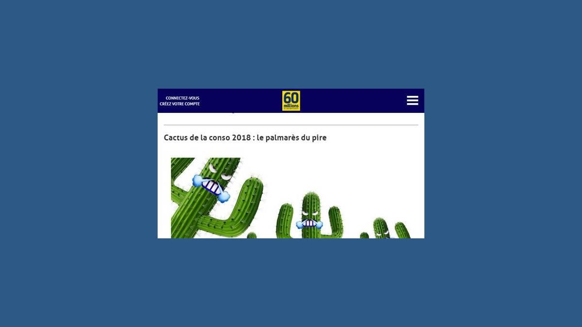 Cactus d'or 2018 de 60 millions de consommateurs