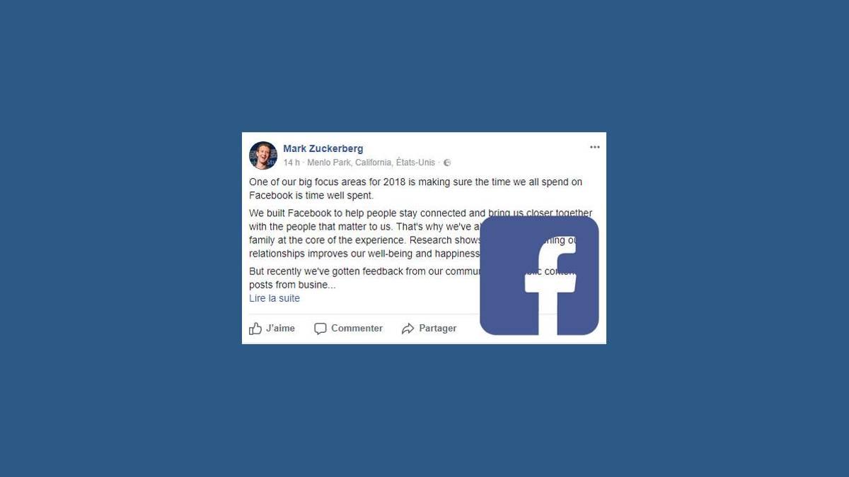 Post de Mark Zuckerberg sur son profil Facebook