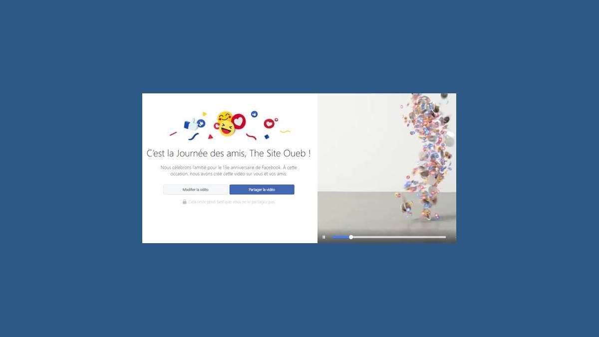 Facebook friensday en vidéo