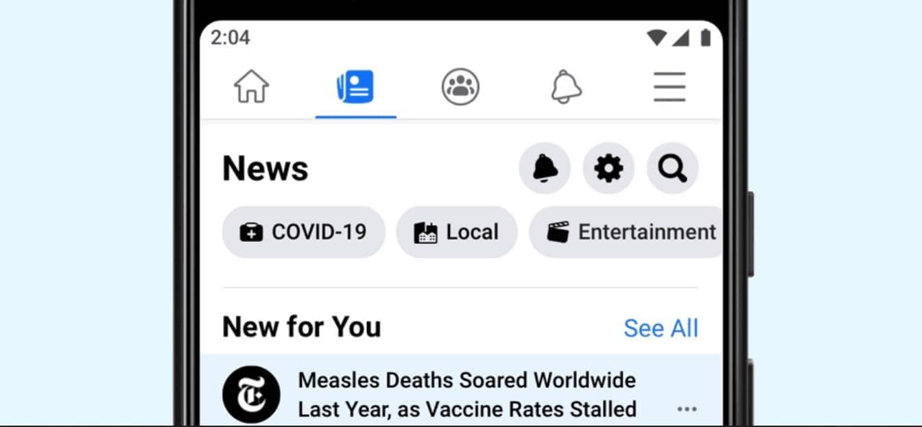 Présentation Facebook News UK sur Smartphone
