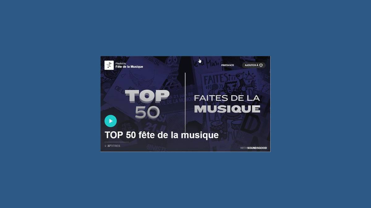 Playlist Top 50 fête de la musique (capture)