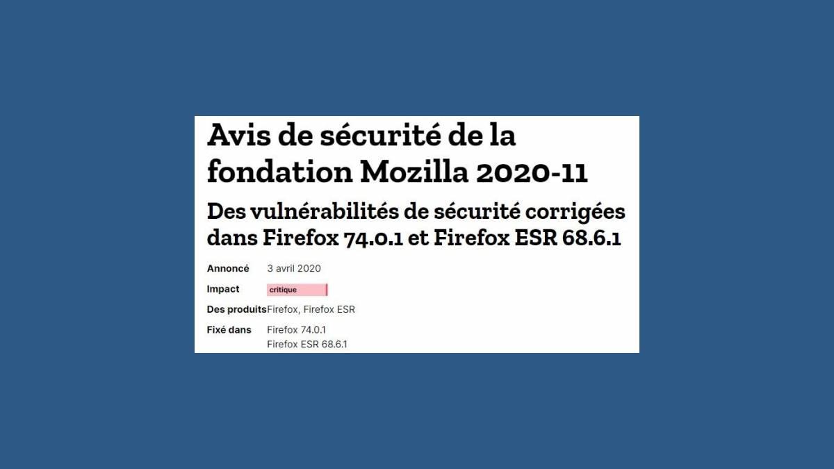 Vulnérabilités CVE-202020-6819 et 6820 dans Firefox 74