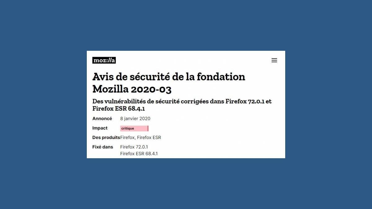 Vulnérabilité CVE-2019-17026 dans Firefox 72