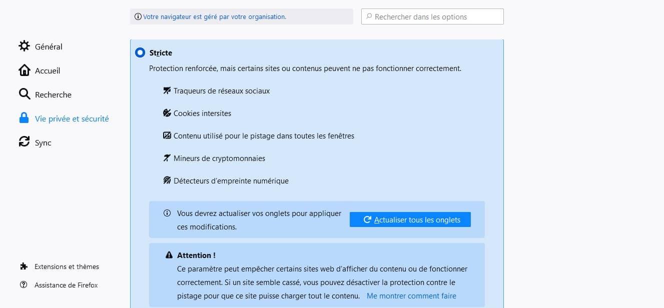 Protection stricte de Firefox contre les super cookies