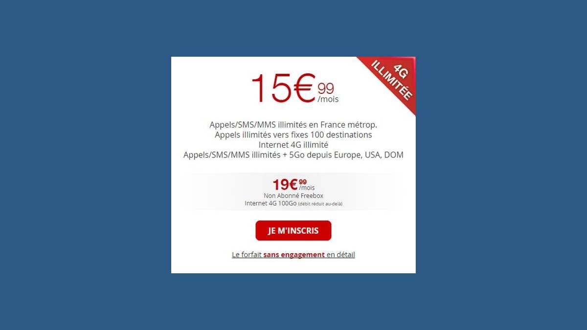 Illimité 4G forfait Free Mobile 15,99 €