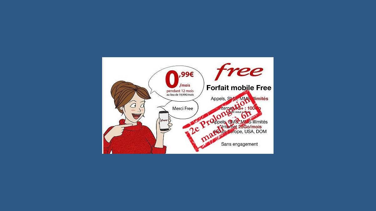 Seconde prolongation offre Vente-privée Free Mobile 0,99 €