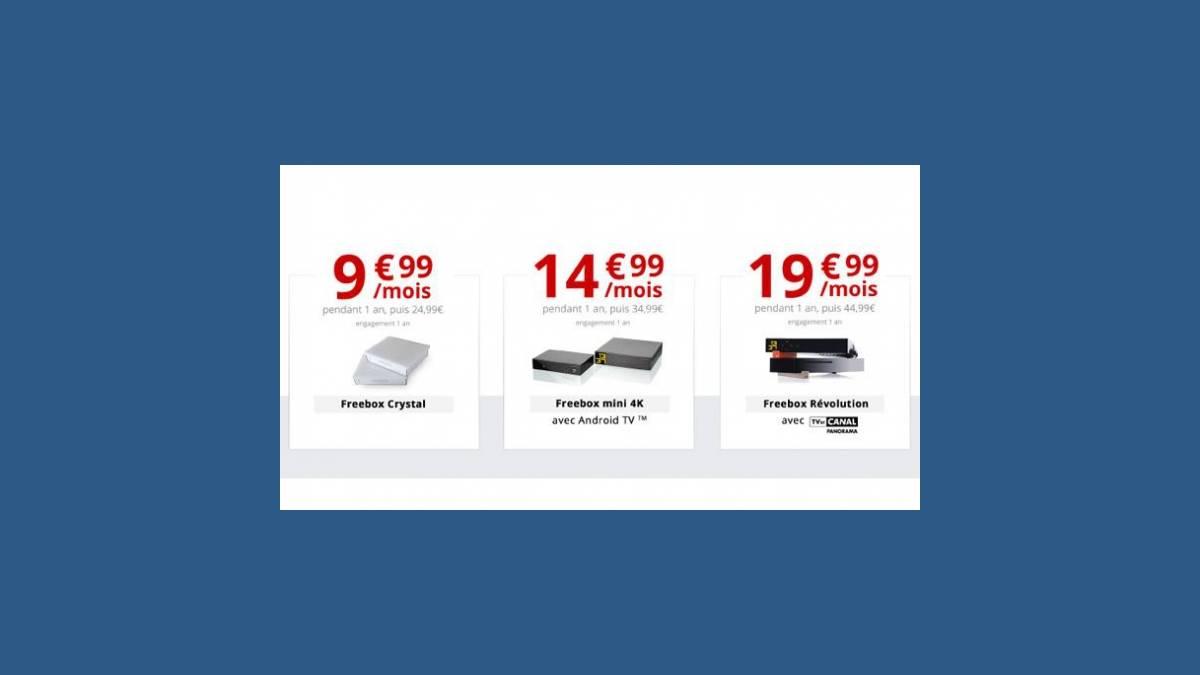 Offres Freebox Crystal, Freebox mini 4K et Freebox Révolution