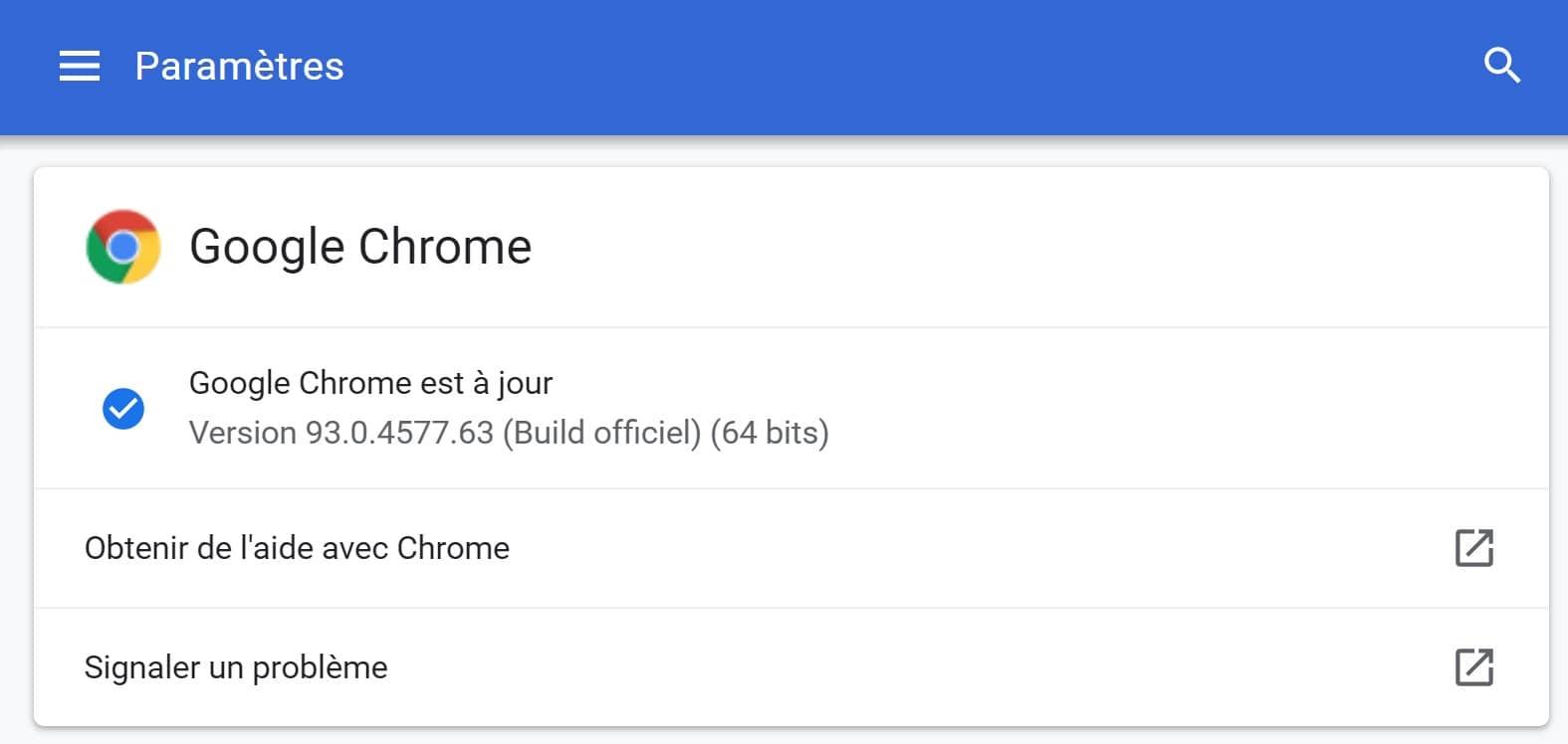Paramètres de Google Chrome 93