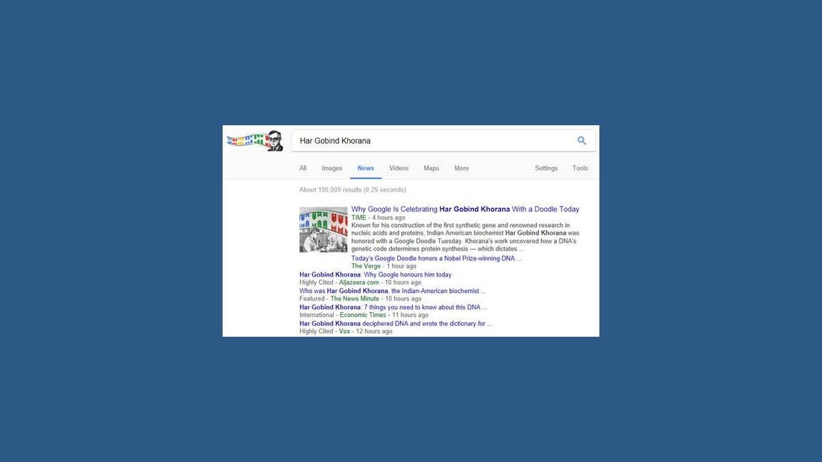 Capture Google News US Har Gobind Khorana