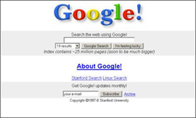 google 1997 page accueil