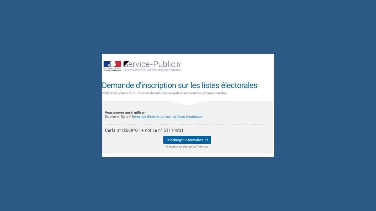 Élections 2017 formulaire inscription Internet listes électorales