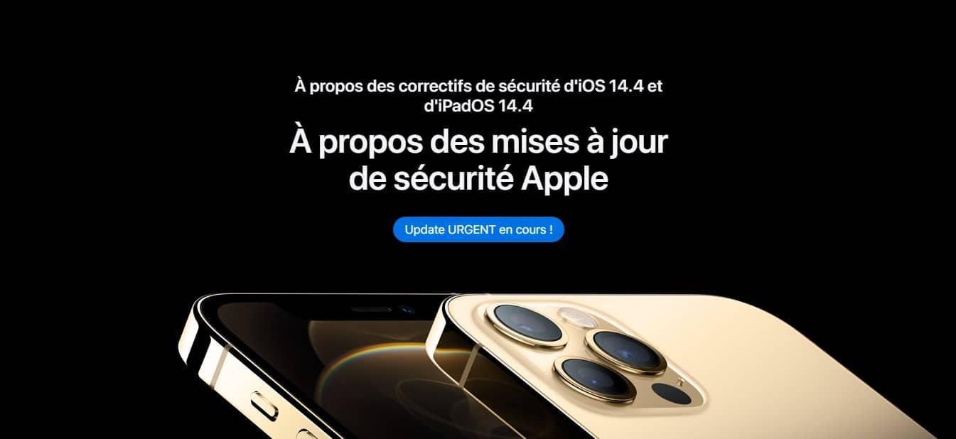 Mise à jour de sécurité iOS 14.4