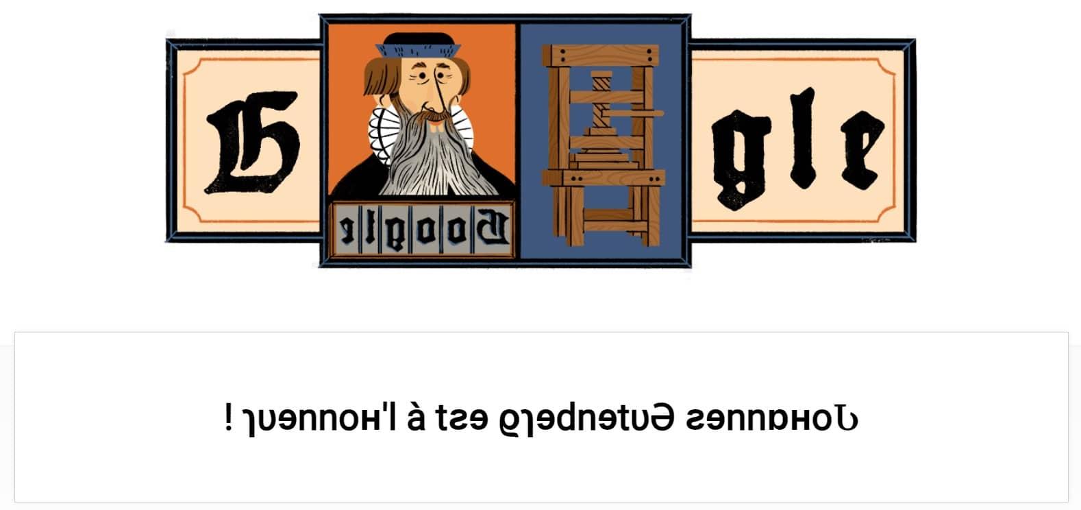 Doodle Johannes Gutenberg est à l