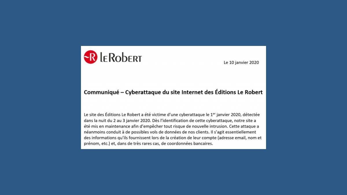 Communiqué cyberattaque du site Internet Le Robert