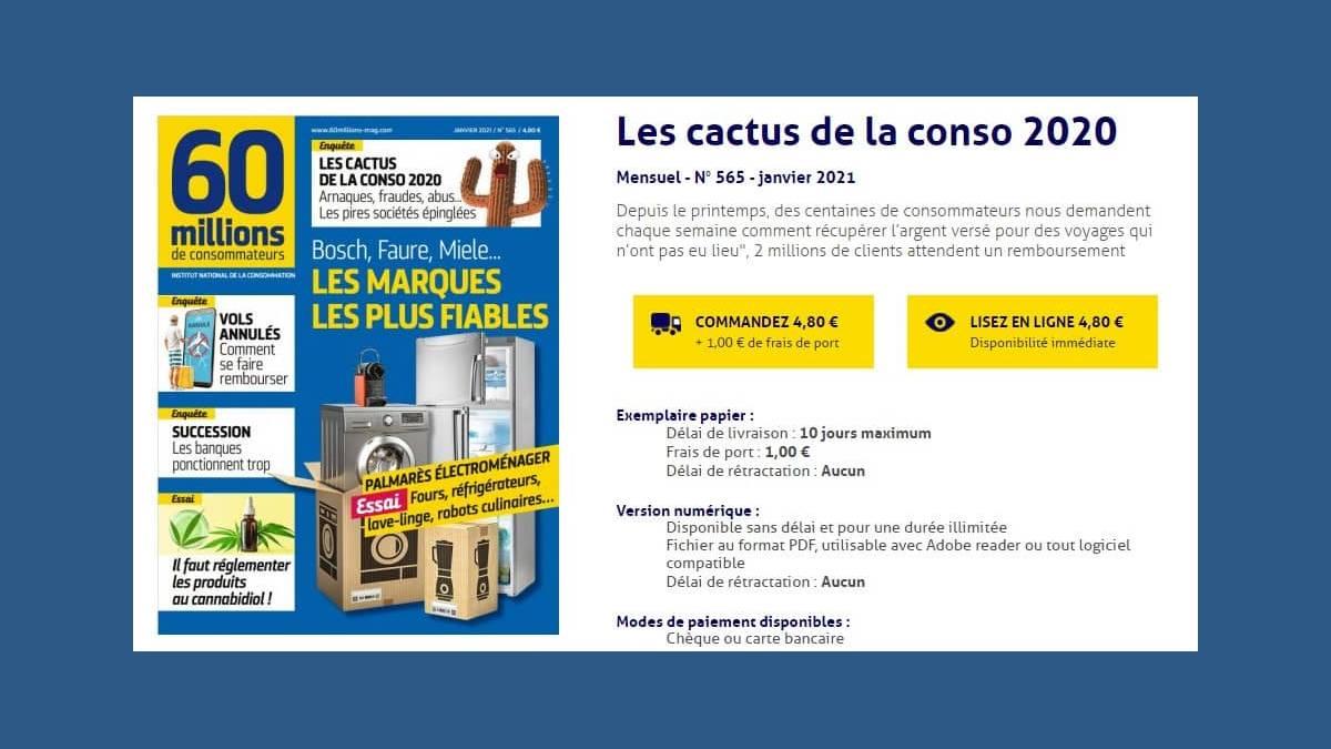 Cactus d'or 2020 de 60 millions de consommateurs