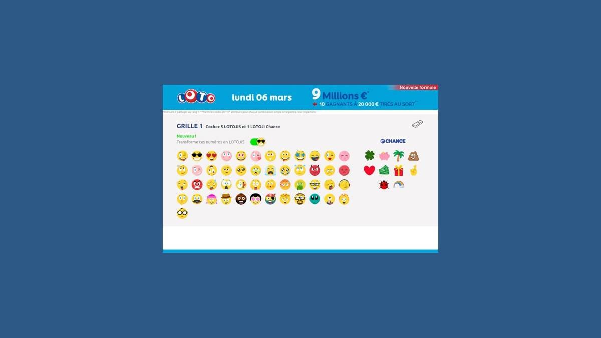Loto super jackpot de 9 millions d'euros et une grille Lotojis / emojis